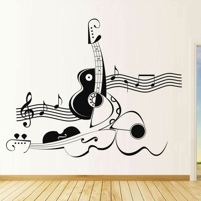 Creative abstract guitar and violin wall sticker musical for Vinilos decorativos instrumentos musicales
