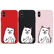 Brand NEW Soft Case for iPhone X Xs XR Xs Max 7 7Plus 8 8Plus 6 6Plus 6s 6sPlus 5 5s SE Phone Cover Middle Finger Cat Coque(China)