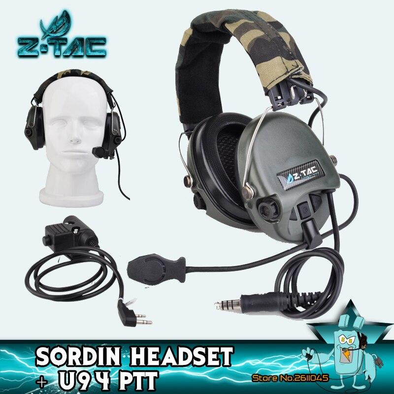 Z Tactical Sordin Headphones Military Earphones For Shooting Z111 With Push Talk U94 PTT Active Sordin