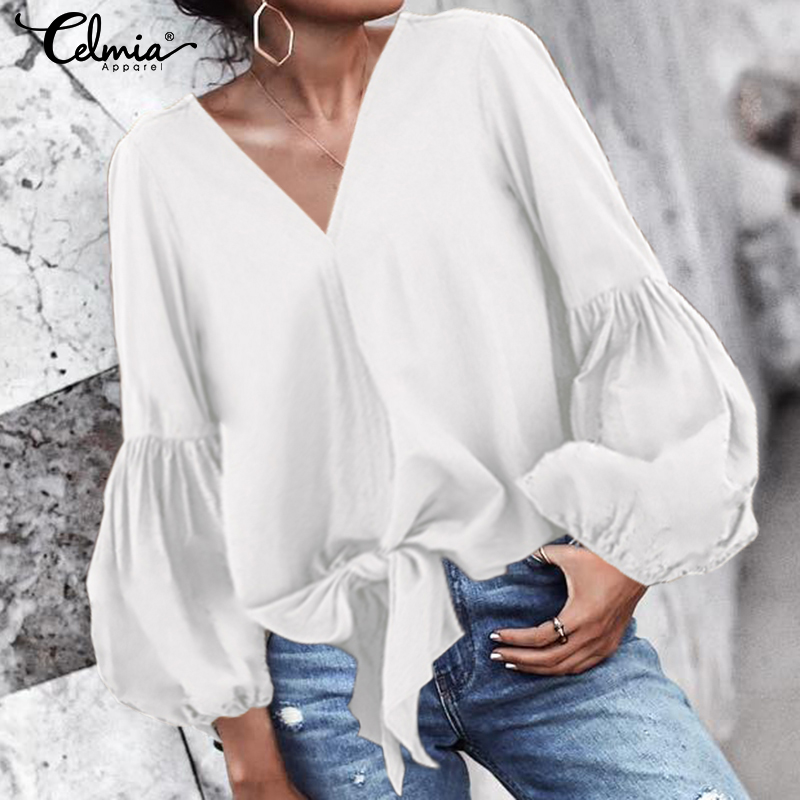 Women Solid   Blouse     Shirts   Casual Sexy V-Neck Long Lantern Sleeves Tops Celmia 2019 Autumn Loose Hem Short Strap Tie Bow Blusas