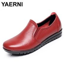 YAERNI Big size EU 43 Split leather women flats new women loafers comfortable soft bottom mother work shoes low to help #B2176