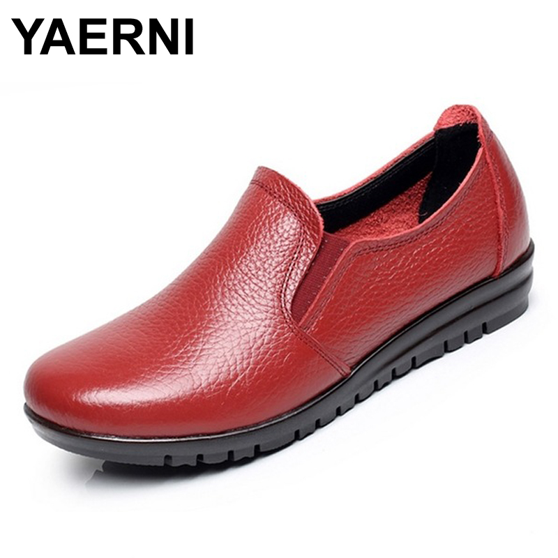 YAERNI Big size EU 43 Split leather women flats new women loafers comfortable soft bottom mother work shoes low to help #B2176 new 2017 arrival men casual flats soft leather sneakers shoes low help lace up breathable comfortable shoes plus size eu 39 44
