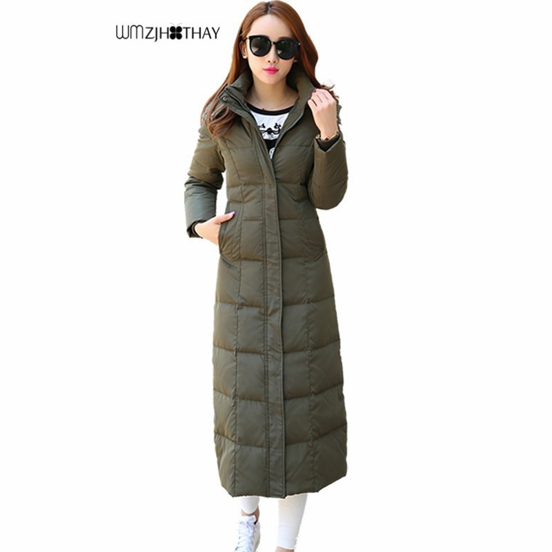 Plus la Taille 4XL Vers Le Bas Vestes D'hiver Femmes Tempérament Mince À Capuchon Parker Mode Casual Solide Couleur Épais Chaud X-Long femelle Manteau