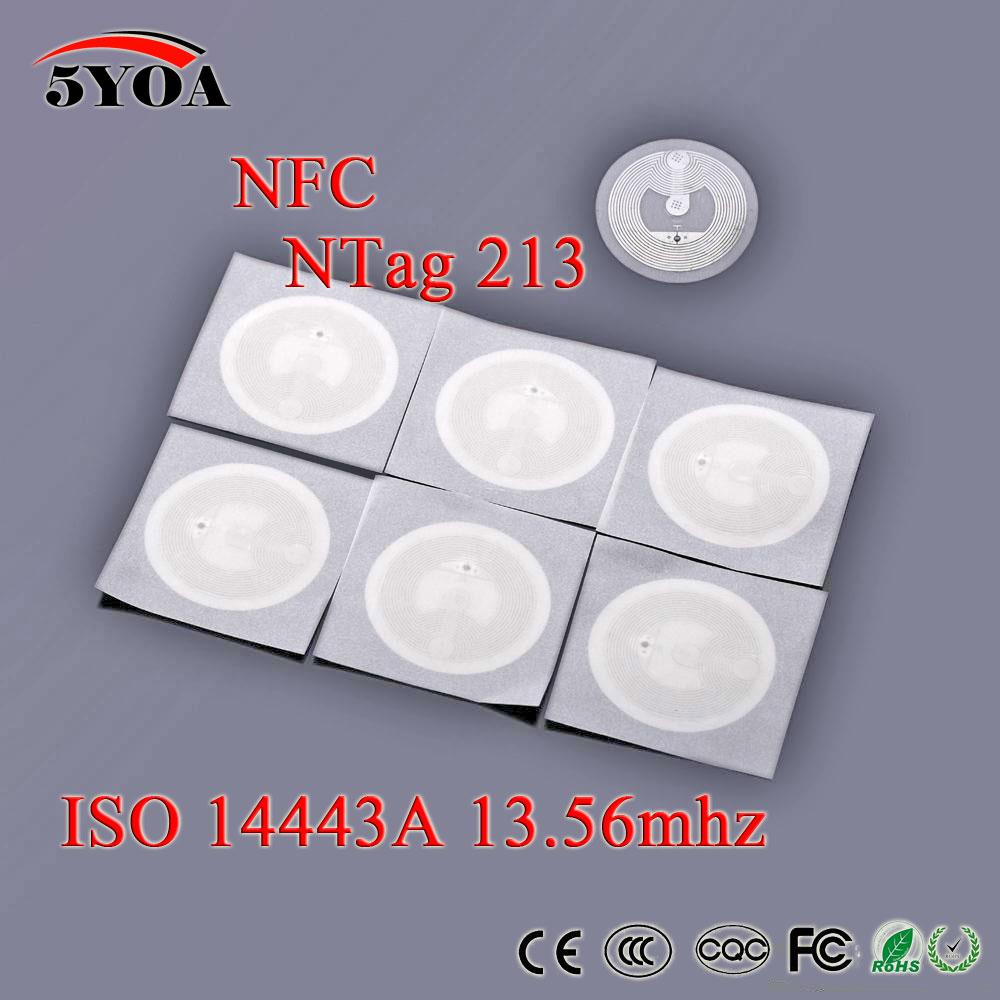 5YOA 100pcs/Lot NFC TAG Sticker 13.56MHz ISO14443A NTAG 213 Key Tags llaveros llavero Token Patrol Universal Label RFID Tag dia 30mm rfid pvc token with s50 chip hf iso14443a proximity rfid tag 100pcs lot