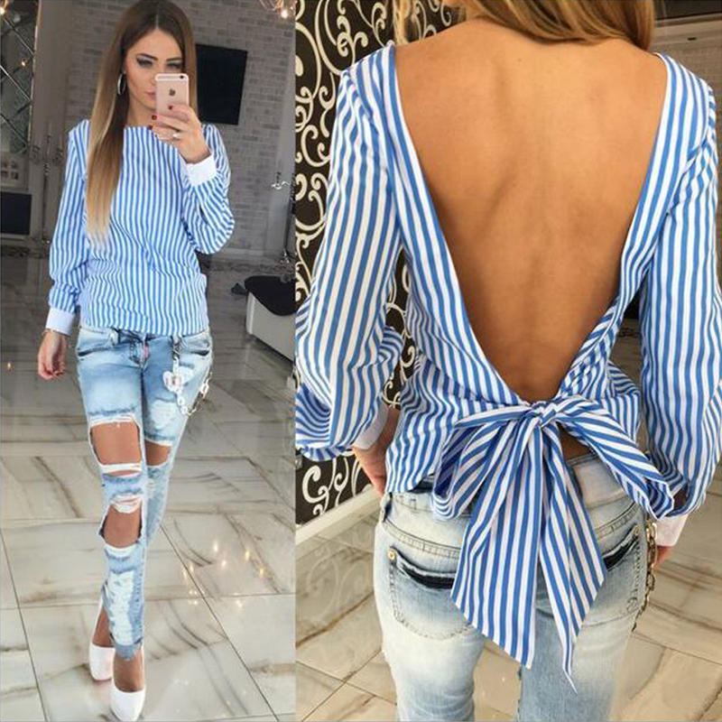 Novelty Striped Blouses Women Sexy Bowknot Backless Shirts Long Sleeve O neck Blouse Women Bandage Tops Plus Size Female M0132 2