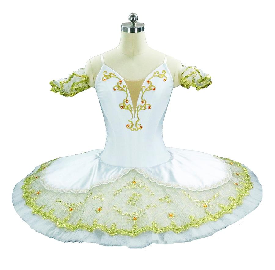 Costume de Ballet classique professionnel Costume de scène de Ballet en or blanc Paquita