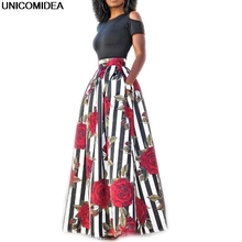 New Two Pieces Women Maxi Dresses Short Sleeve Black Top Robe Long Flower Floral Dress Vestidos