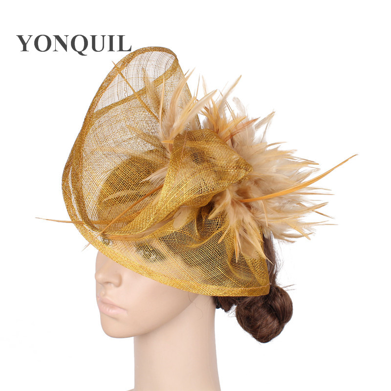 Gold Derby Kentucky Millinery Sinamay Fascinators Headband With Plump Feather Red Cocktail Hat Melbourne Cup Hair Clips MYQ032