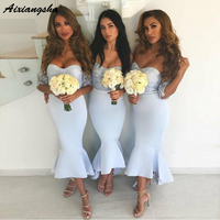 Mermaid Off the Shoulder Mermaid Light Blue Bridesmaid Dress With Lace