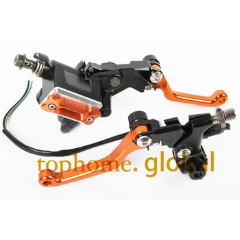 """New CNC 7/8""""Brake Master Cylinder Pressure Switch Reservoir Levers Red For KTM 250SX/XC 2006-2007 2008 2009 2010 2011 2012 2013"""