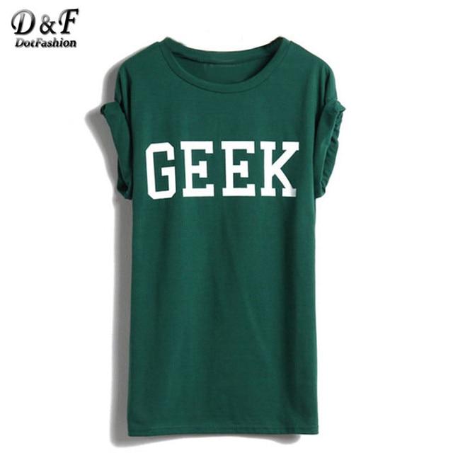 Dotfashion 2016 nuevos calientes Tops ropa mujer estilo del verano a estrenar Casual Tee manga corta verde letras friki para mujer camiseta de la impresión