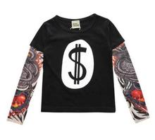 Hot Selling Baby Clothes 2019 Spring Boy Girl Long-sleeved Stitching Hip-hop Style Tattoo Sleeve T-shirt FZ7655