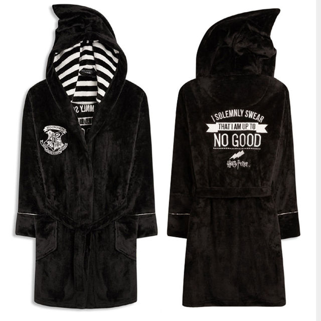 New Original Solemnly Swear Up To No Good Marauder's Map Fleece Kimono Bathrobe Cosplay Costume Adult Version Fleece Sleepwear