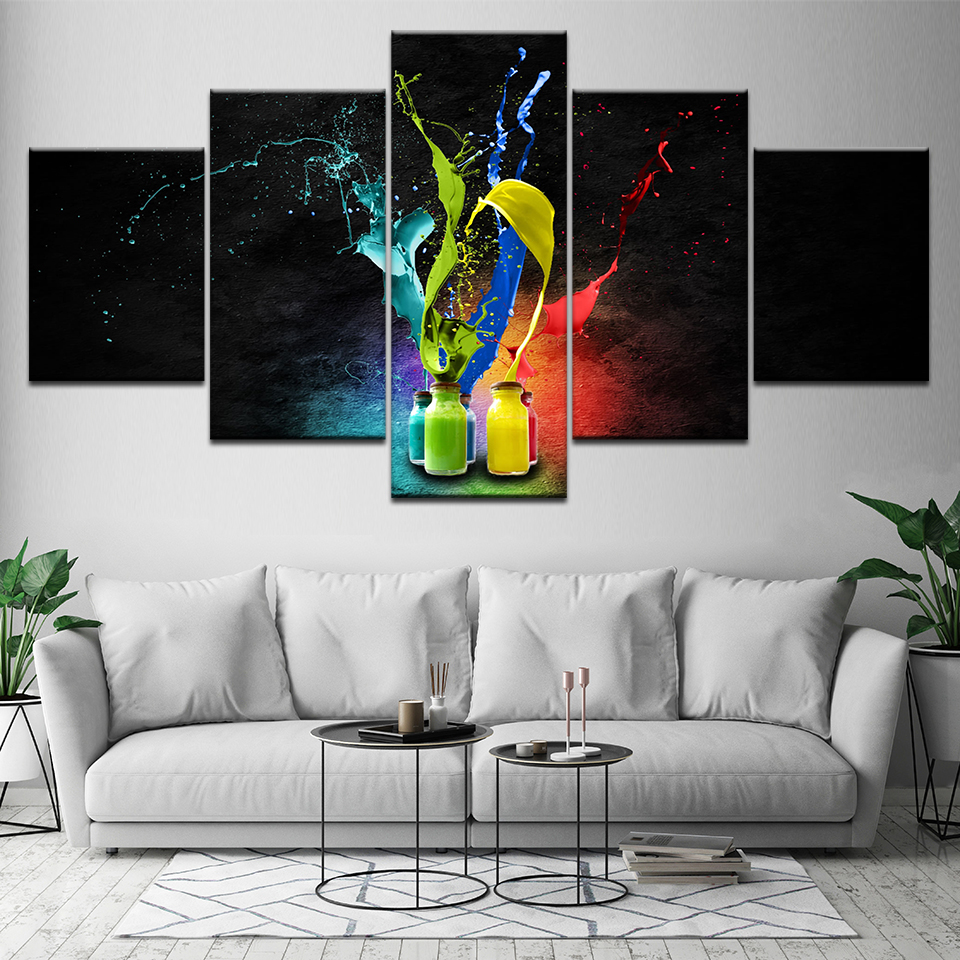Splash Colorful Room Wall: Art Living Room Printed Home Decor Canvas Pictures 5 Panel