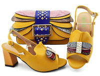 New Arrival Yellow Women Shoes and Bags To Match Set Italy Italian Shoes with Matching Bags Set Decorated with Rivet Party Pumps