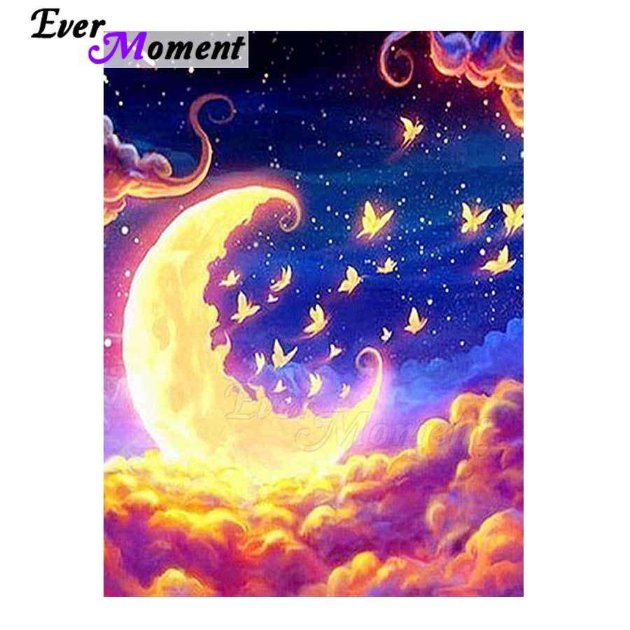 Ever Moment Diamond Painting Cloud Moon Butterfly Picture Of Rhinestone Mosaic Diamond Embroidery Full Square Drill 3F298