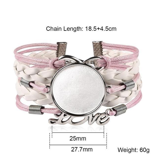 5pcs/Lot Woven Leather Bracelet Bangle Blank Base Fit 25mm Glass Cabochon Gems Setting Bezel Tray DIY Jewelry Making Findings