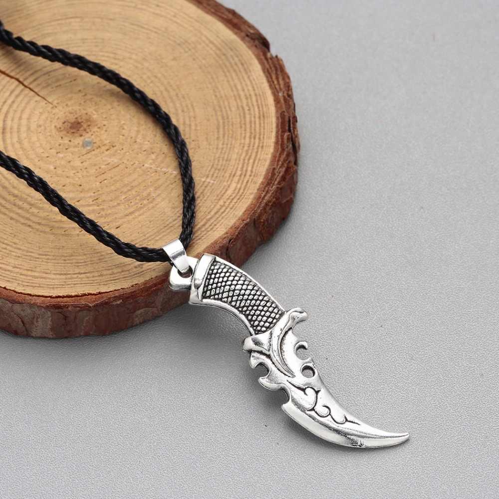 QIAMNI Punk Scimitar loup dent machette couteau collier Vintage puissance caractère couverts pendentif collier Viking hommes bijoux charme