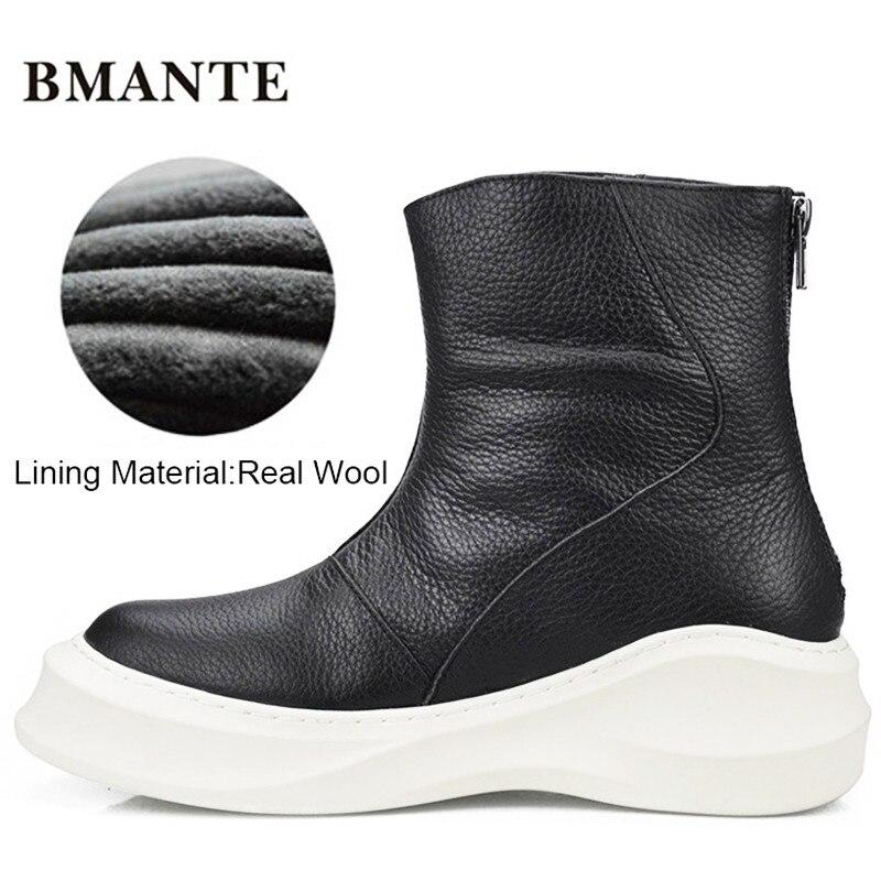 69adc637c Verdadeira marca de couro masculino sapato alto sola Grossa Plataforma  Harajuku maré bota com Pele do