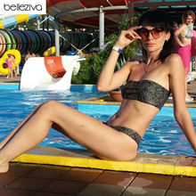 Belleziva Women Bikinis Set Leopard Print Bandeau Bikini Swimwear Women Sexy Swimsuit Strapless Bathing Suit Brazilian Biquni(China)