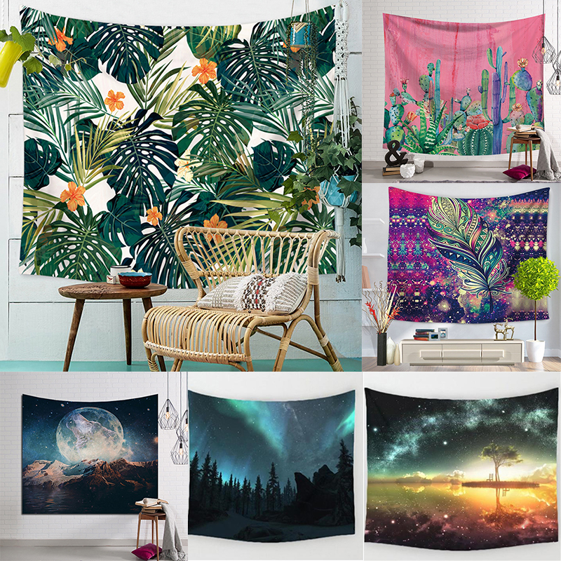 Cactus Palm Leaf Tapestry Starry Sky Wall Hanging Hawaii