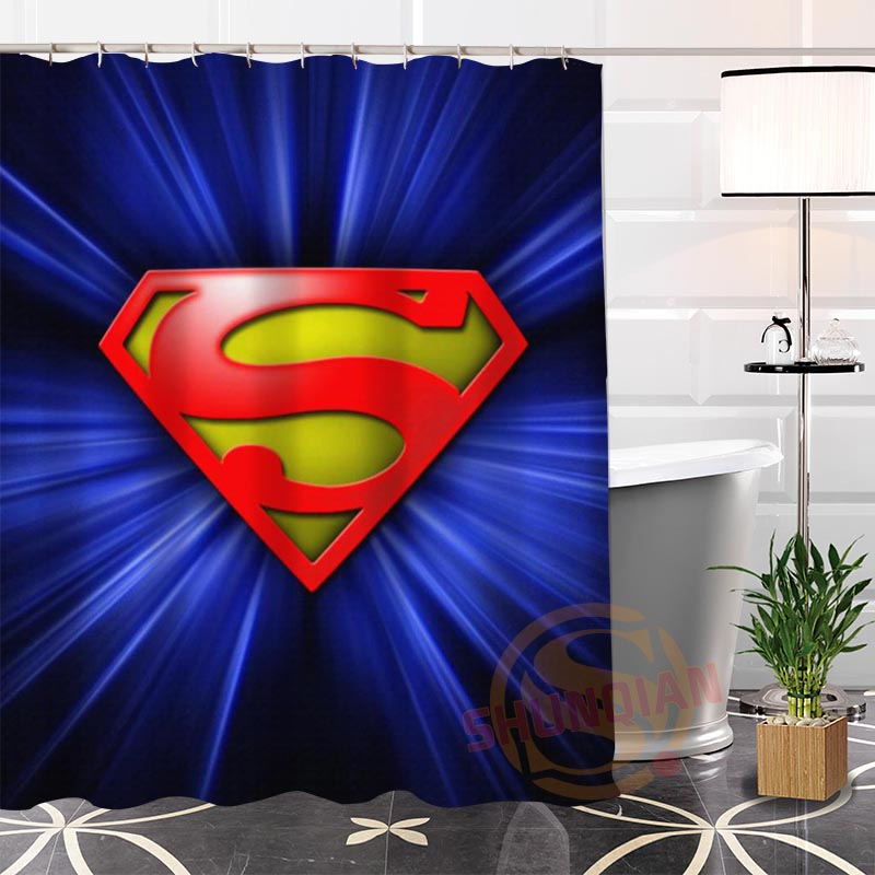 Hot New Eco Friendly Custom Unique Superman Modern Shower Curtain Bathroom Waterproof For Yourself H0220