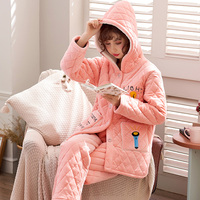 Winter Three Layer Thickened Pajamas Flannel Coral Velvet Can Wear Large Size Hooded Warm Sleepwear