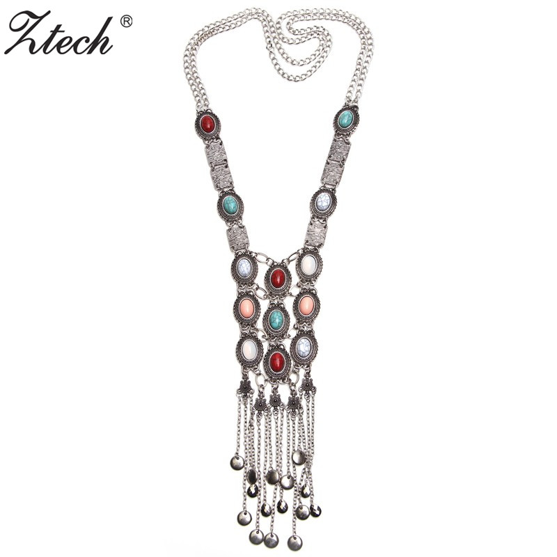 Ztech Exaggerated Women Long Bohemian Necklace Crystal Inlaid Charm Hang Double Chain Tassel Statement Necklaces & Pendants