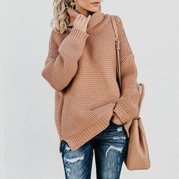 fa3c6169a621 Suéter de Angora para mujer 2017 primavera nueva moda jerseys sólido de manga  larga cuello alto ajustado suéter de punto ropa de mujer