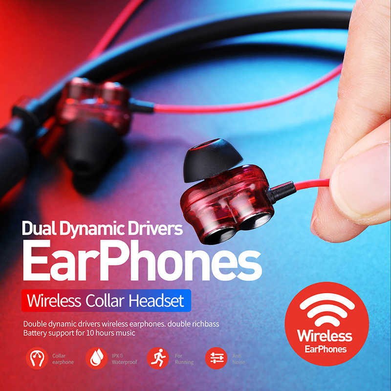 Plextone BX345 słuchawki bezprzewodowe z bluetooth z pałąkiem na kark radio hifi słuchawki basowe z zestaw bezprzewodowy mikrofonu do telefonów iPhone Xiaomi Sport
