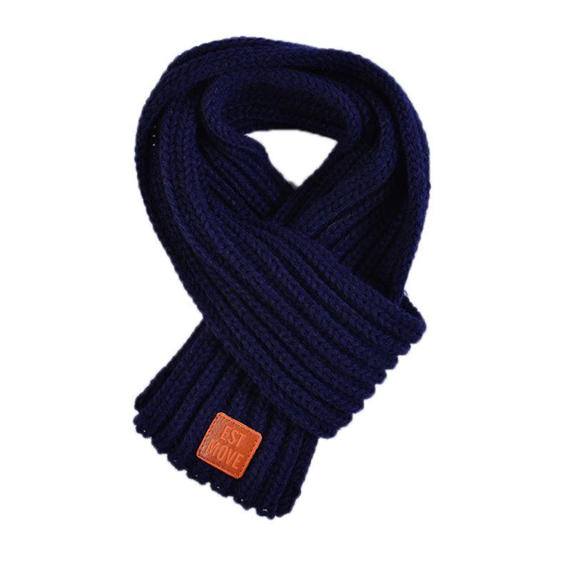 Детский вязаный шарф из акрилового волокна для мальчиков и девочек, плотная зимняя теплая шаль для шеи, шарфы с резиновыми буквами - Цвет: Тёмно-синий
