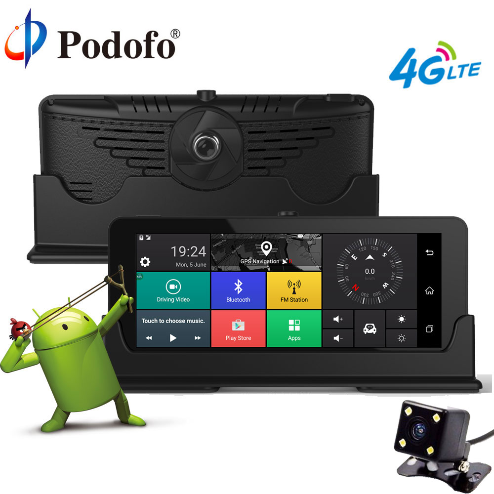 Podofo 4G 7 ''Автомобильный dvr gps навигации Bluetooth Touch двойной камера DVRs HD 1080 P Automoblie Android Dashcam с заднего вида камера