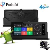 Podofo 4G 7'' Car DVR GPS Navigation Bluetooth Touch Dual Camera DVRs HD 1080P Automoblie Android Dashcam With Rear view camera