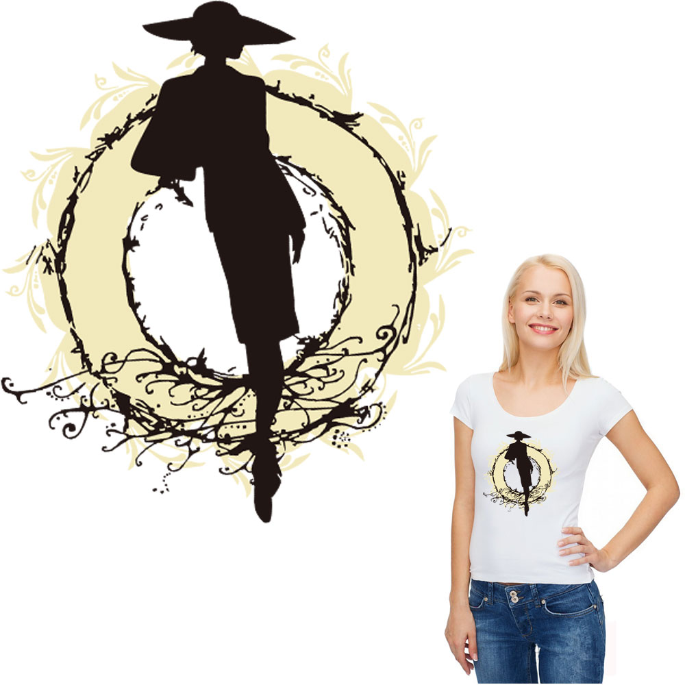 black fashion girl patches for clothing transfert thermocollants t shirt jeans clothes iron on transfers stickers applique ropa in Patches from Home Garden