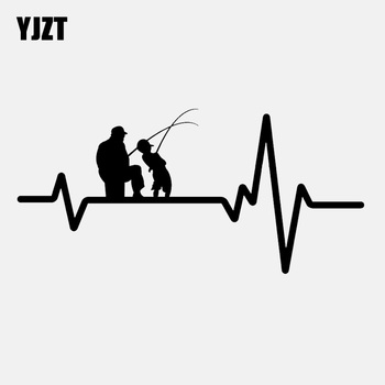 YJZT 16.7CM*8CM Fishing Father Dad Son Fish Rod Reel Heartbeat Vinyl Black/Silver Car Sticker C22-1203 image
