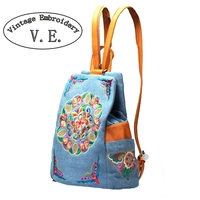 2019 New Fashion Embroidery Backpacks Women Casual Backpack Ethnic Style Handmade School Travel Cotton Shoulder Bag