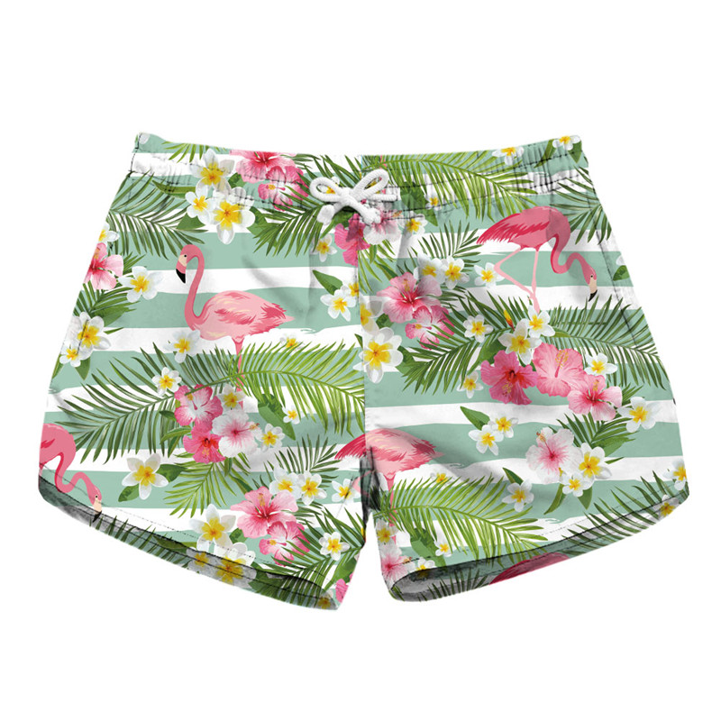 Flamingo Siamese Cute   Shorts   New Summer Women Casual   Shorts   Lady Palm Trees Floral Print Elastic Waist   Short   Pants Sweatpants