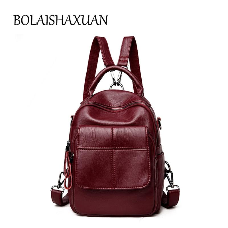 Plaid Women Genuine Leather Backpack Anti theft Backpacks for Teenage Girls School Shoulder Bag Female Black