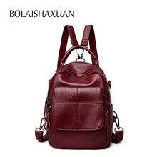 Плед Женщины Натуральная кожа Рюкзак Anti-Theft рюкзаки для девочек-подростков школьная сумка женский черный Mochilas SAC DOS