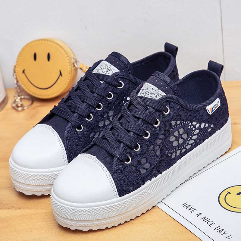 Fashion Platform Sneakers Women Vulcanize Shoes Canvas Casual Shoes  Breathable Wedges Shoes For Women Trainers Tenis Feminino Pakistan