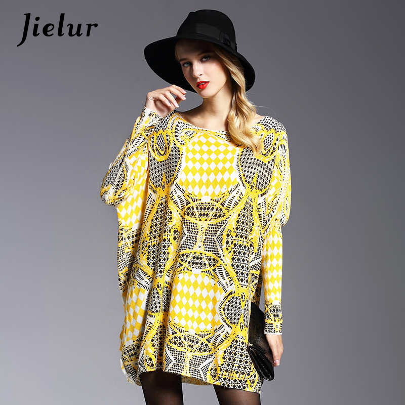 2017 Winter New Yellow Oversized Sweater Women Fashion Loose Full Sleeve Knitwear Ladies Fall Geometric Print Sweaters Pullover