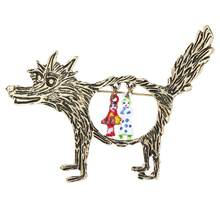 Retro Hollow Wolf Little Red Riding Hood Bros Pin Kerah Perhiasan Dekorasi Pakaian Punk(China)