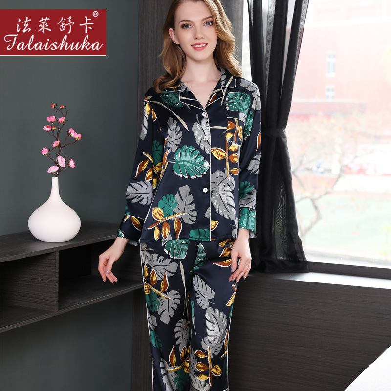 Genuine Silk Pajamas Female Spring Summer 100% Silk Sleepwear Women Sexy  Printed Long-Sleeve Pyjama Pants Sets Two-piece T8149 8dcfd30a5