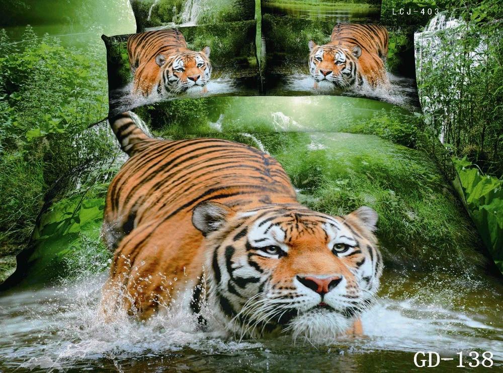 ᗖ3D Tiger lecho California rey sábanas tamaño de la Reina edredón ...