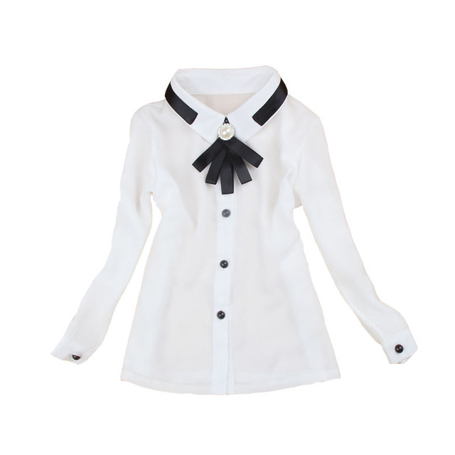 4a2a32bb431 Infants Shirts For Girls Chiffon Tops Teenage Girls School Uniform Formal White  Blouse For Girls Bow Full Sleeve Tops 12M-14Y