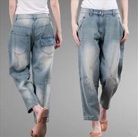 Plus Size Women Spliced Jeans Mid Waist Woman Harem Pants Spring Denim Jeans Pants Light Washed Loose Cotton Trouser 3XL 4XL 5XL