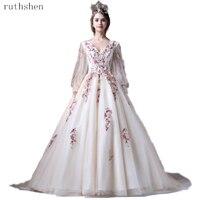 2019 Ball Dresses Applique Quinceanera Dresses Long Sleeves Vestidos De 15 Sixteen Sweet Debutante Gowns Robe De Bal Puffy Dress
