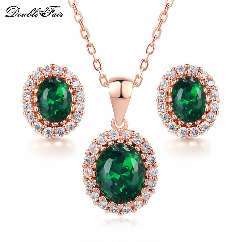 Green Crystal Necklace Pendant & Earrings Rose Gold Color Cubic Zirconia African Bridal Wedding Jewelry Set DFS106
