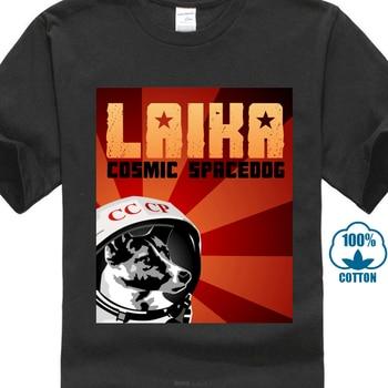 94b5d56c704cb Россия Laika космическая собака футболка Вселенная Мужская мода короткий  рукав летние футболки ретро печать мужские Забавные