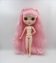 Blygirl,Blyth doll,Pink curly hair, 1/6 nude doll, 19 joint body, new face shell doll, can make up for her, wearing clothes toy gift free shipping 30cm doll 1 6 nude factory blyth doll 230bl1319 mint straight hair white skin joint body neo